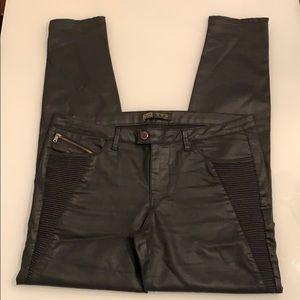 Zara black coated Moto jeans with leg zippers